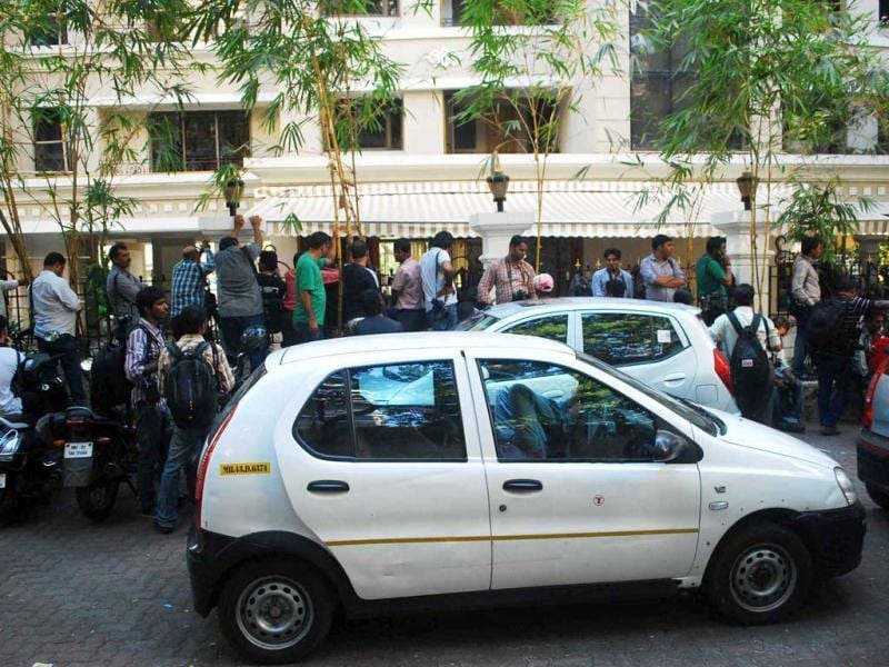 Media persons wait outside actor Sanjay Dutt's residence after Supreme Court's verdict upholding his sentence in Mumbai. (UNI Photo)