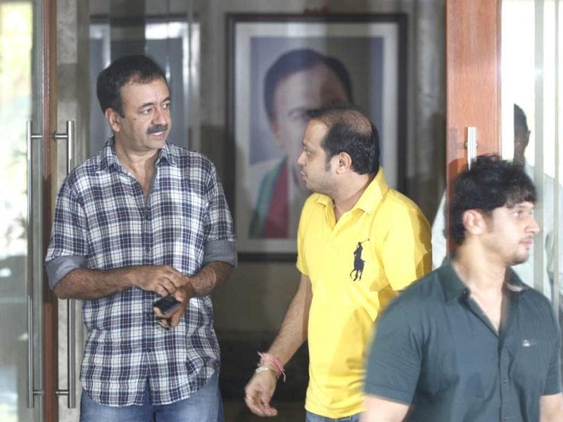 Bollywood director Rajkumar Hirani arrives at actor Sanjay Dutt's residence in Mumbai after Supreme Court's verdict upholding his sentence. (HT Photo/Satish Bate)
