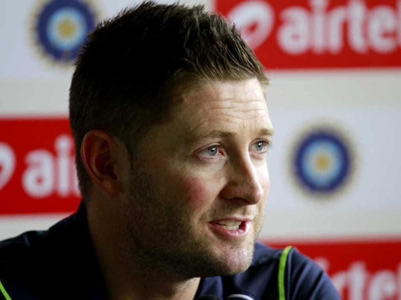 Australian captain Michael Clarke at a press conference in New Delhi, ahead of the 4th Test match against India. HT Photo