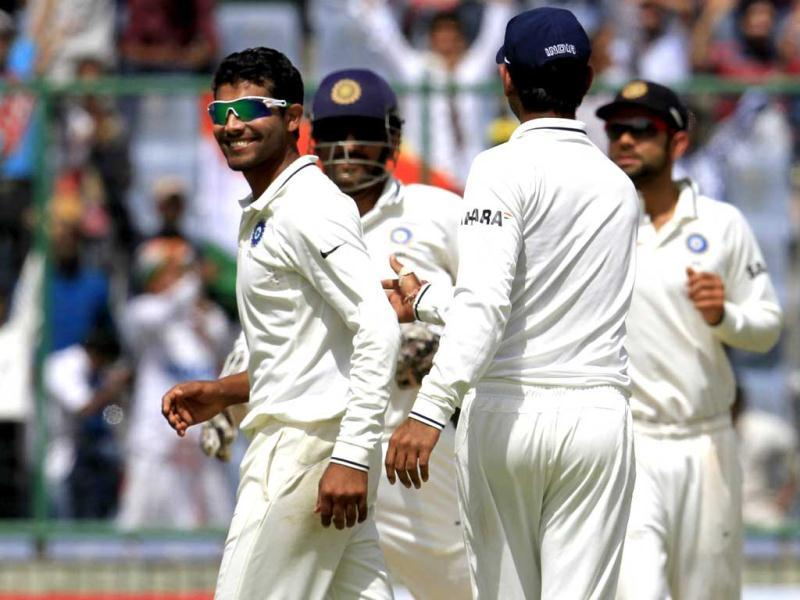 Ravindra Jadeja celebrates after he dismissed Glenn Maxwell during 1st day of 4th and final cricket Test match between India and Australia at Feroz Shah Kotla stadium, in New Delhi. HT Photo/Mohd Zakir
