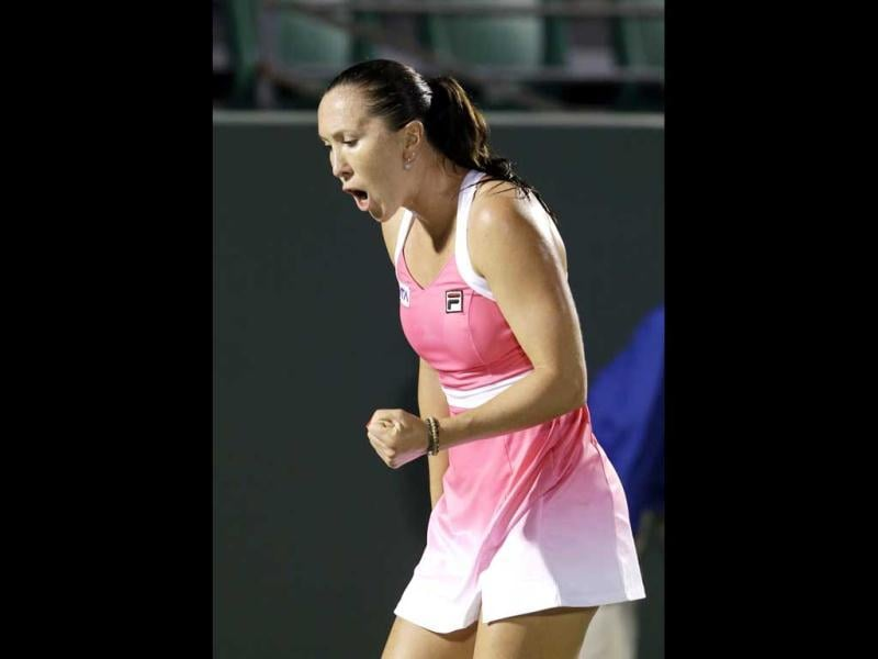 Jelena Jankovic of Serbia, celebrates a point against Victoria Duval during the Sony Open tennis tournament in Key Biscayne. (AP)