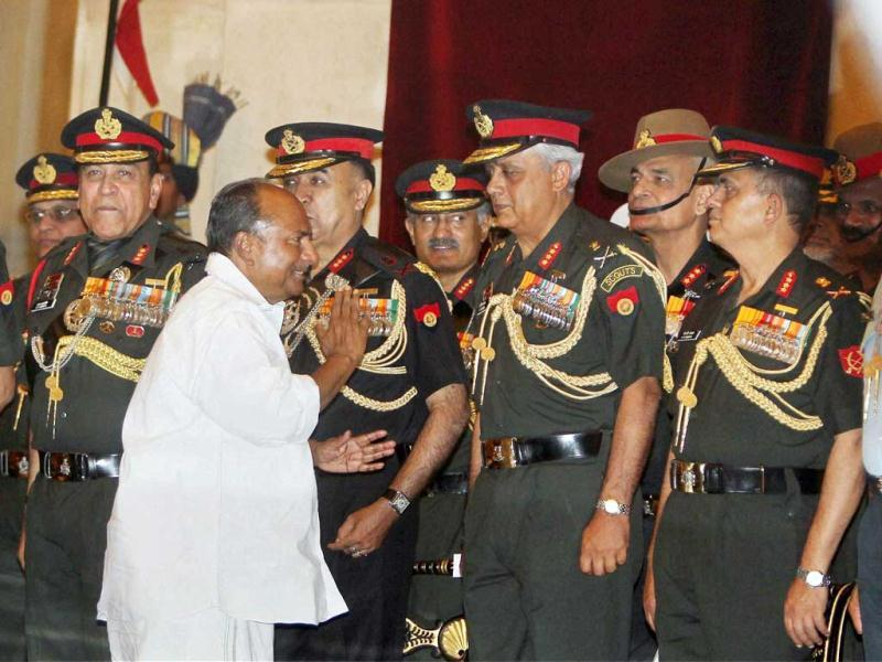 Defence minister AK Antony at the Defence Investiture Ceremony at Rashtrapati Bhavan in New Delhi. (PTI)