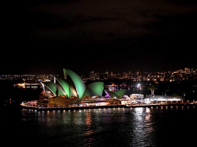 The Sydney Opera House shortly after the start of the annual Earth Hour. AFP