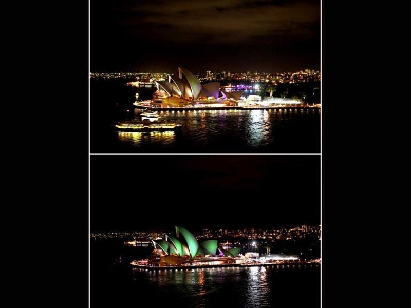 The Sydney Opera House before (top) and during (lower) the annual Earth Hour. AFP