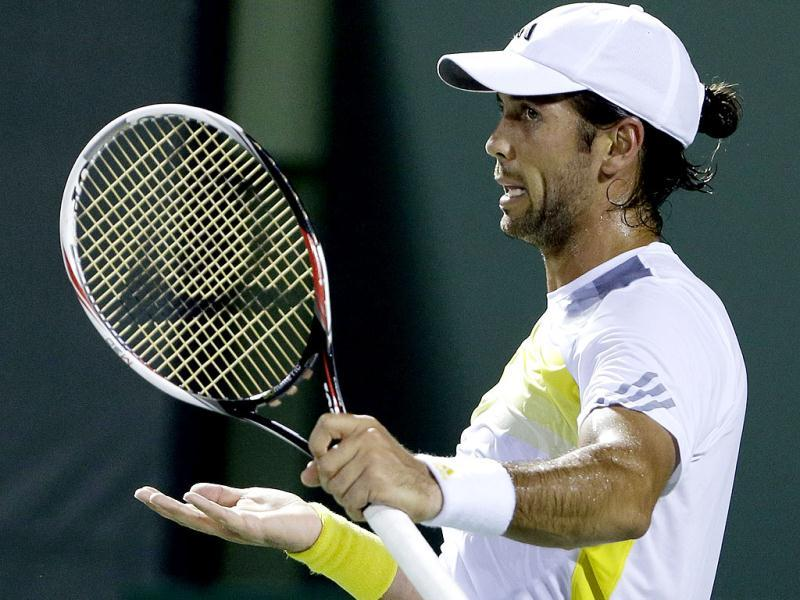 Fernando Verdasco of Spain, reacts after loosing a point to Alejandro Falla of Colombia, during the Sony Open tennis tournament, in Key Biscayne, Florida. AP Photo