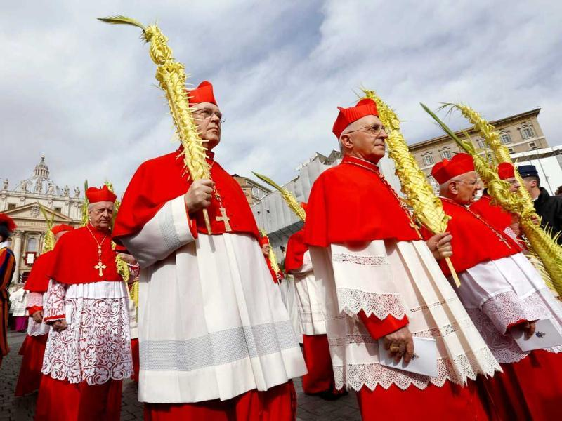 Cardinals hold palm fronds during the Palm Sunday mass led by Pope Francis at Saint Peter's Square at the Vatican. Reuters