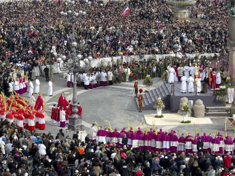 Pope Francis leads the faithful in prayer on Palm Sunday at Saint Peter's Square at the Vatican. AP