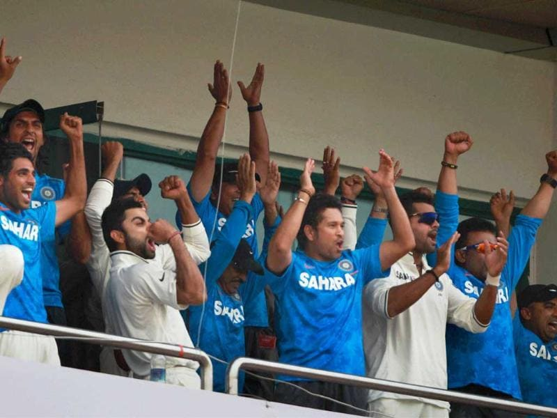 Sachin Tendulkar with teammates after winning the 4th Test Match against Australia in New Delhi. PTI