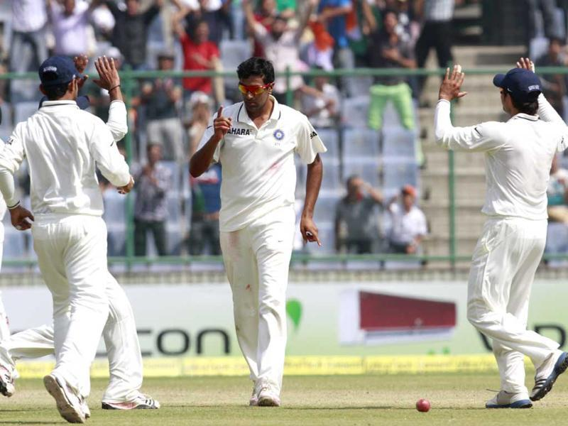 Bowler R Ashwin celebrates the wicket of Australian batsman during forth and final test match at Ferozshah Kotla ground in New Delhi. HT/Virendra Singh Gosain
