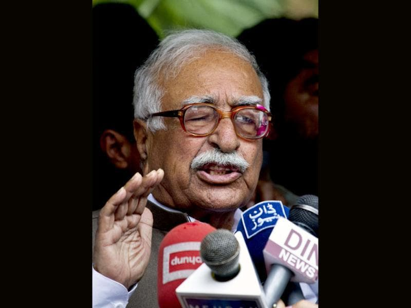 Mir Hazar Khan Khoso, nominated for Pakistan's caretaker prime minister, talks to media in Islamabad, Pakistan. AP Photo