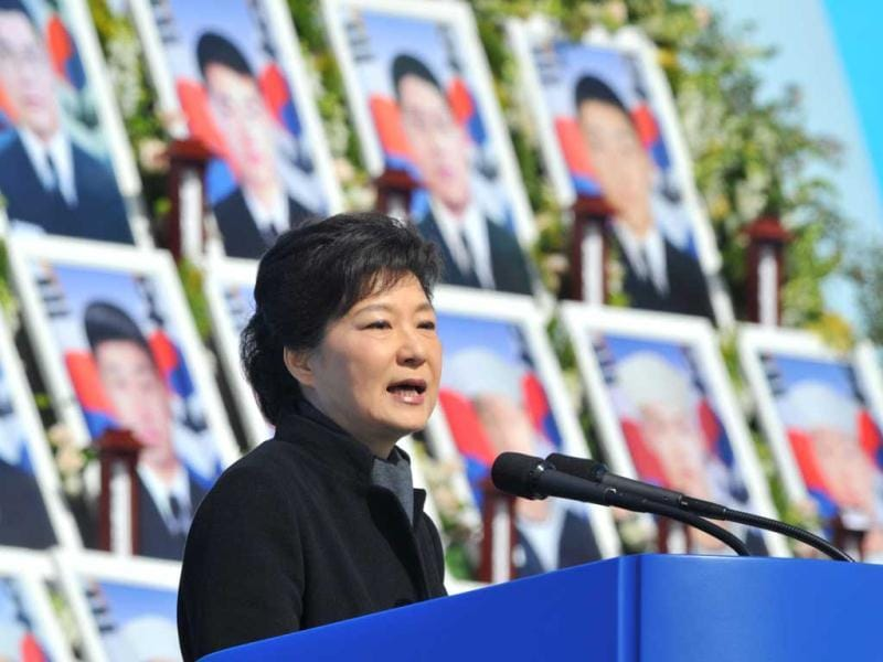 South Korean President Park Geun-Hye gives a speech during the third anniversary of the sinking of a South Korean naval vessel by what Seoul insists was a North Korean submarine, at the national cemetery in Daejeon. AFP