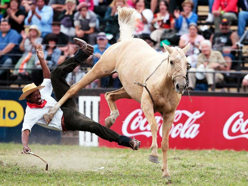 A gaucho is unseated by an unbroken horse during the annual celebration of Criolla Week in Montevideo. Throughout Easter Week