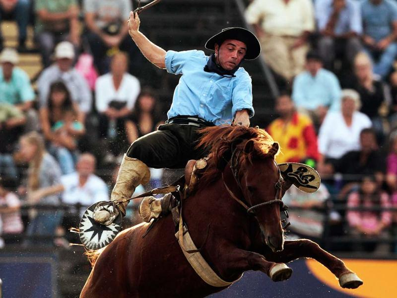 A gaucho rides an unbroken horse during the annual celebration of Criolla Week in Montevideo. REUTERS