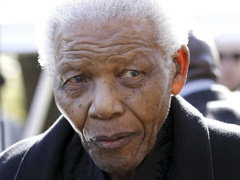 A file photo of Former South African president Nelson Mandela in Johannesburg. (AP)