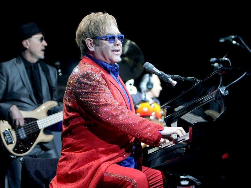 Sir Elton John performs at the Toyota Center in Houston. (AP Photo)