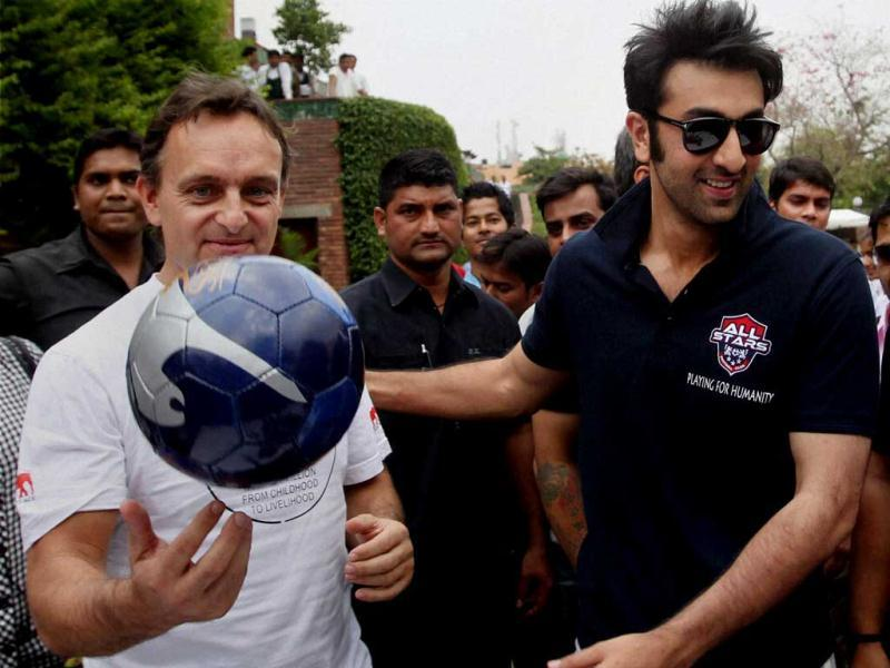 Ranbir Kapoor during a charity football match in New Delhi on Thursday. PTI Photo