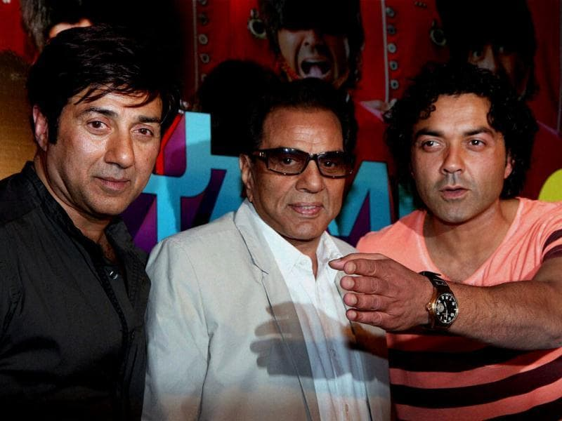 Dharmendra, Sunny Deol and Bobby Deol at the launch of the first look of their upcoming film Yamla Pagla Deewana 2 in Mumbai on Thursday. (PTI PHOTO)