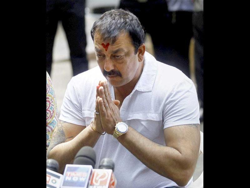 Some days back, an emotional Sanjay Dutt appeared before the media clarifying that he would not appeal for mercy. (PTI Photo)