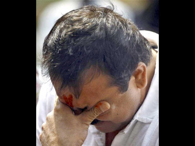 Bollywood actor Sanjay Dutt, convicted in 1993 Mumbai blast case, breaks down during a press conference at his residence in Mumbai on Thursday. The Supreme Court has sentenced him to five years in prison for illegal possession of weapons. (PTI Photo)