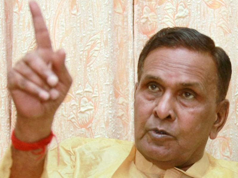 Union Steel Minister Beni Prasad Verma addressing a press conference at his residence in Lucknow. PTI Photo