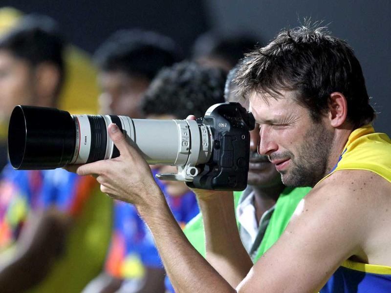 Chennai Super Kings player Ben Hilfenhaus during a practice match in Chennai. PTI Photo