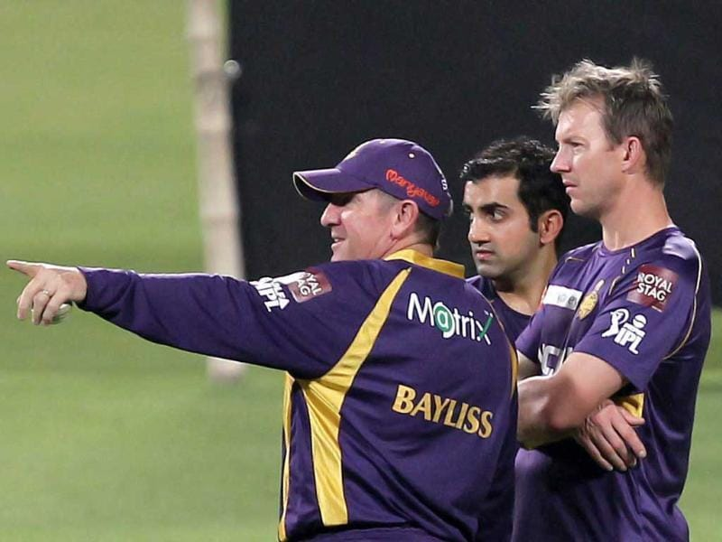 Kolkata Knight Rider captain Gautam Gambhir, Brett Lee and coach Trevor Bayliss during a practice session at Eden Garden in Kolkata. PTI Photo