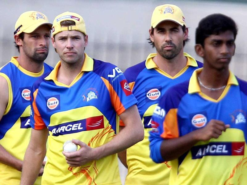 Chennai Super Kings players during a practice session in Chennai. PTI Photo