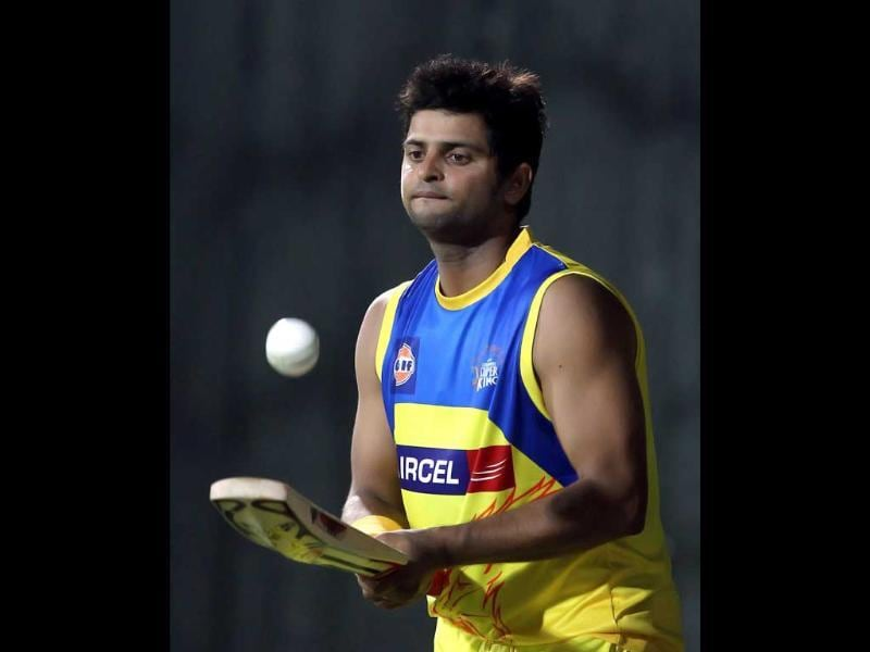 Chennai Super Kings player Suresh Raina during a practice match in Chennai. PTI Photo