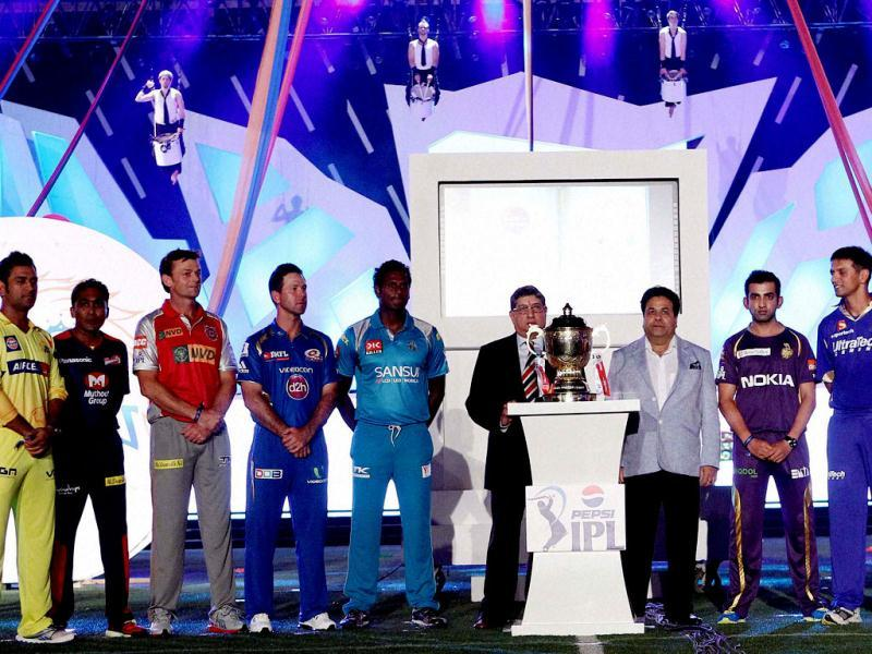 The nine captains line up after signing the MCC Spirit of Cricket board during the Pepsi Indian Premier League opening ceremony at the Salt Lake Stadium in Kolkata. (PTI Photo)