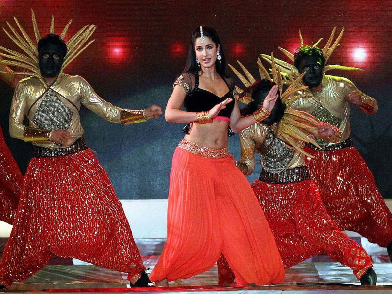 Katrina Kaif performs during the Pepsi Indian Premier League opening ceremony at the Salt Lake Stadium in Kolkata. (PTI Photo)