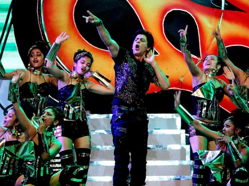 Shah Rukh Khan performs during the Pepsi Indian Premier League opening ceremony at the Salt Lake Stadium in Kolkata. (PTI Photo)