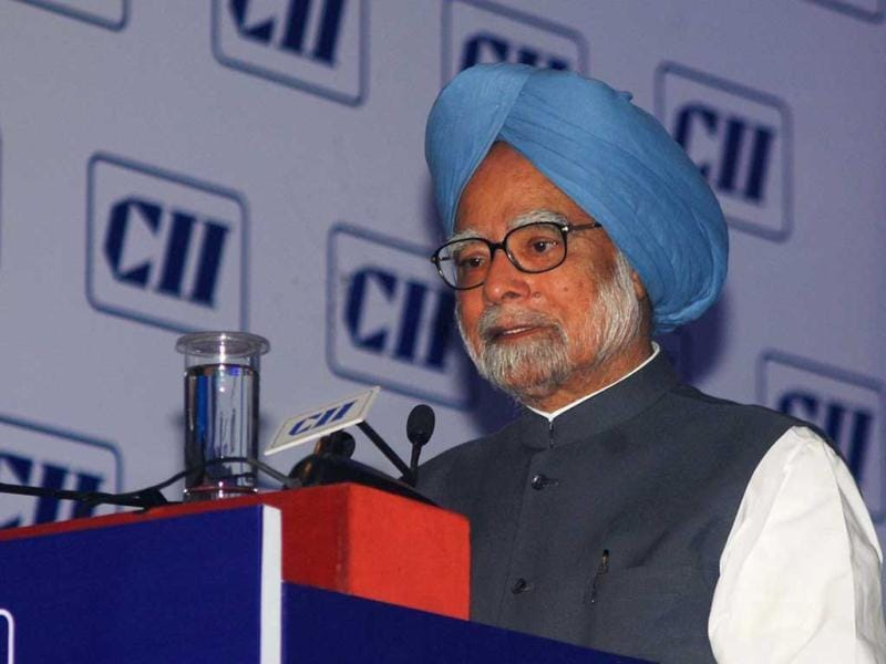Prime Minister Manmohan Singh speaking at the Annual General Meeting and National Conference 2013 of CII in New Delhi. (UNI)
