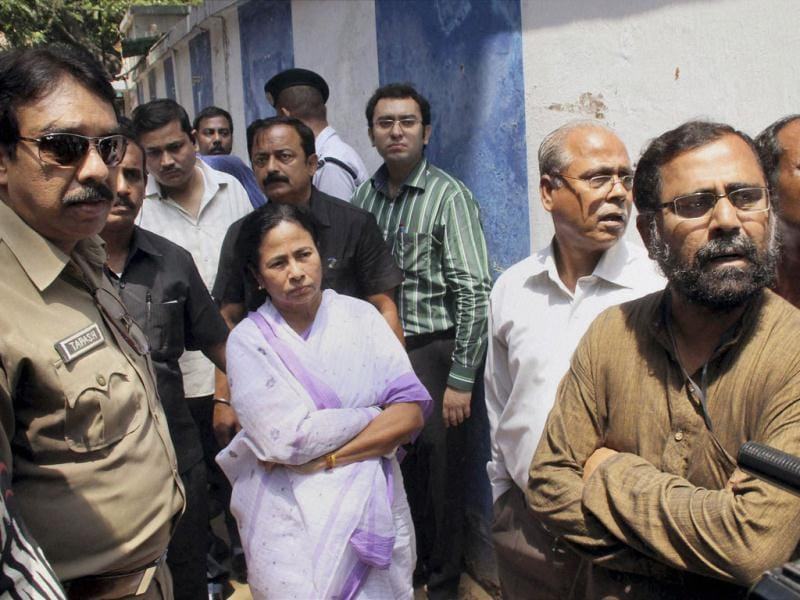 West Bengal chief minister Mamata Banerjee visits SSKM Hospital, where deceased SFI activist Sudipto Gupta was admitted after an alleged clash with police, in Kolkata. PTI Photo