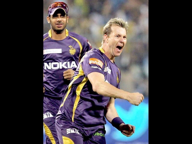 Kolkata Knight Rider cricketer Brett Lee celebrates after taking a wicket during IPL T20 at Eden Garden in Kolkata. (PTI Photo)