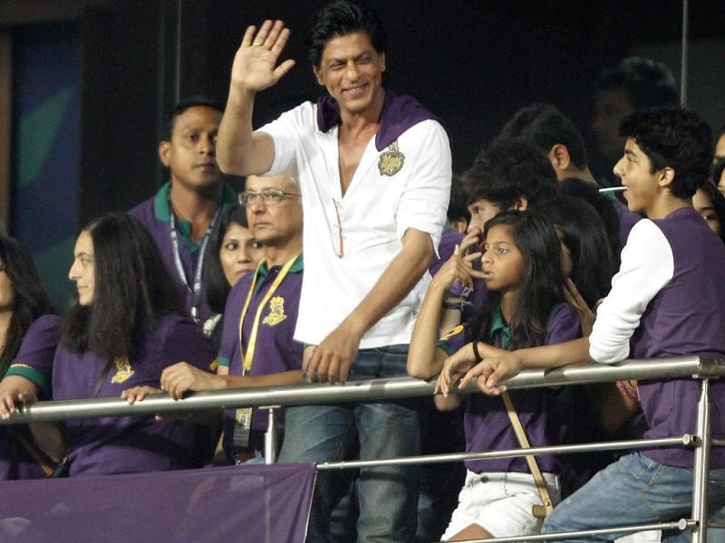 Kolkata Knight Riders co-owner Shah Rukh Khan cheers for his team during 1st Twenty20 Cricket Match of IPL 2013 Season, between Kolkata Knight Riders and Delhi Daredevils, at Eden Gardens, in Kolkata. (HT Photo/Ashok Nath Dey)