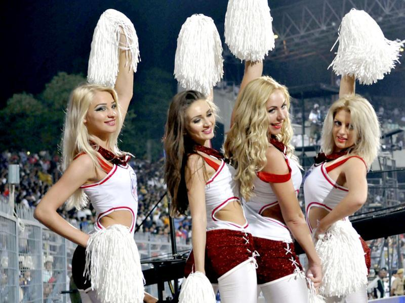 Cheergirls cheers before 1st Twenty20 Cricket Match of IPL 2013 Season, between Kolkata Knight Riders and Delhi Daredevils, at Eden Gardens, in Kolkata. (HT Photo/Ashok Nath Dey)