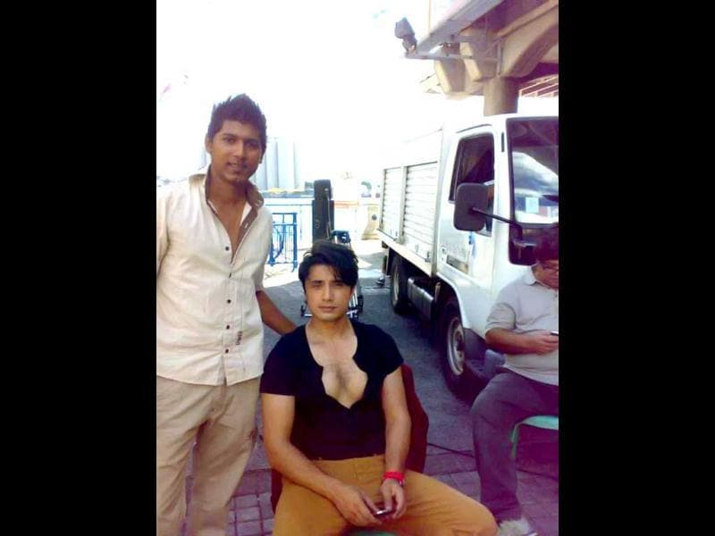 Pakistani actor Ali Zafar chilling on the sets of Chashme Baddoor.