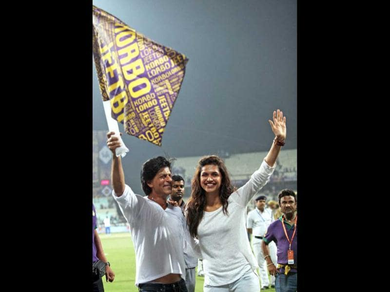Several times co-stars Deepika Padukone and Shah Rukh were seen bonding and celebrating after Kolkata Knight Riders' win over Delhi Daredevils during the first match of IPL6 at Eden Gardens in Kolkata. Here's a sneak peek. (PTI Photo)
