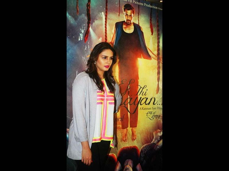 Huma Qureshi at a promotional event for Ek Thi Daayan on Wednesday night. (UNI Photo)