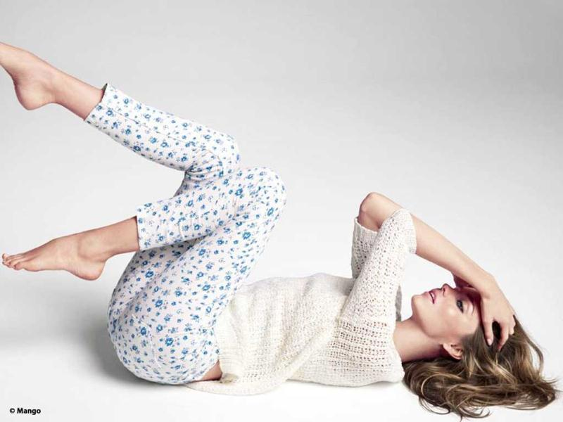 Miranda shows her casual style in printed pyjamas and a netted top. (Photo credit: Mango)