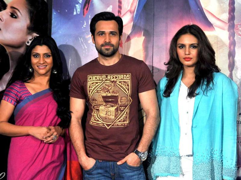 Bollywood actors Konkona Sen Sharma (L), Emraan Hashmi (C) and Huma Qureshi (R) pose during a press conference for the promotion of upcoming film Ek Thi Daayan in Mumbai. Take a look. (AFP Photo)