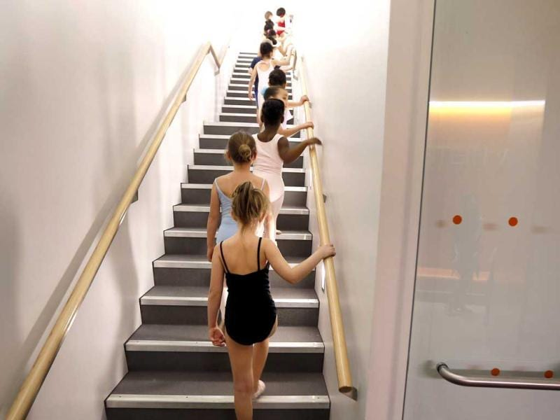 Young dancers make their way into the studio during an audition for six-year old ballet hopefuls at the School of American Ballet, in New York. AP Photo