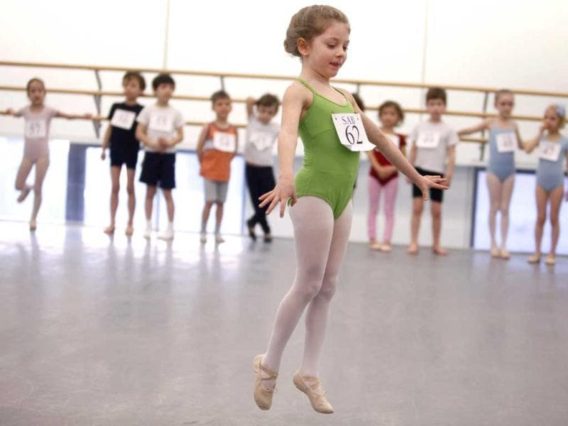 Isabella Riordan, 6, of New York, is evaluated during an audition for six-year old ballet hopefuls at the School of American Ballet in New York. AP Photo
