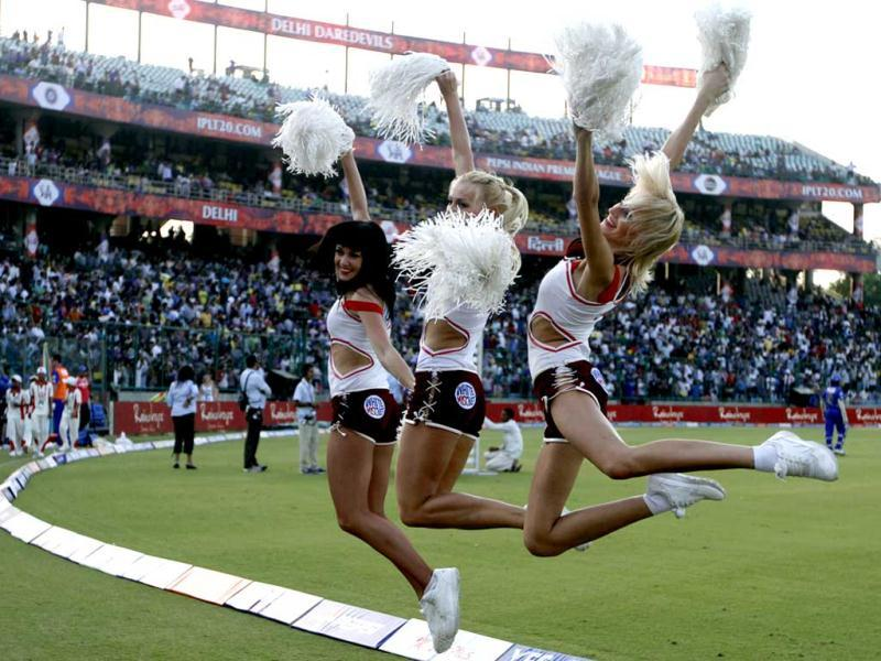 Cheerleaders perform during the IPL6 match between Delhi Daredevils and Rajasthan Royals in New Delhi . (HT Photo/Sanjeev Verma)