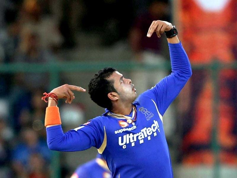 Rajasthan Royals' S Sreesanth celebrates the wicket of Daredevils' Unmukt Chand during IPL match in New Delhi. (PTI Photo)
