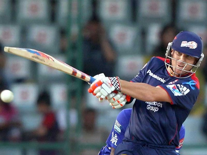 Delhi Daredevils' David Warner plays a shot during IPL match against Rajasthan Royals in New Delhi . (PTI Photo)