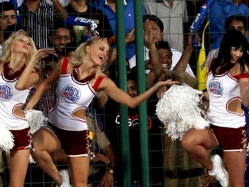 Cheerleaders perform during the IPL6 match between Delhi Daredevils and Rajasthan Royals in New Delhi . (PTI Photo)