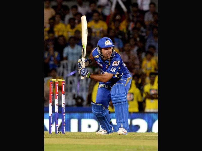 MI captain Ricky Ponting in action during IPL T20 cricket match between Chenai Super Kings and Mumbai Indians at MA Chidambaram in Chennai. HT/Mohd Zakir