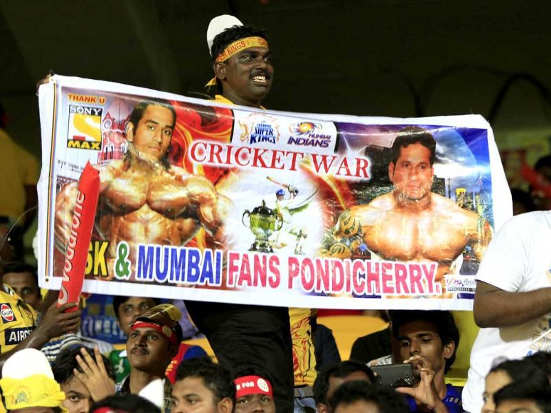 Crowds cheer at the match between Chennai Super Kings and Mumbai Indians during their IPL 2013 cricket match in Chennai. HT/Mohd Zakir