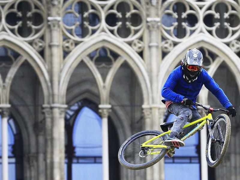 Netherland's Tom Van Steenberge competes during the Red Bull Vienna Air King dirt jumping competition held in front of the Rathaus (townhall) in Vienna. The event held every spring in the Austrian capital marks the opening of the Freeride Mountain Bike World Tour season. AFP
